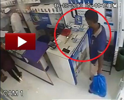 Very Clever Thief is Stealing Mobile Phone