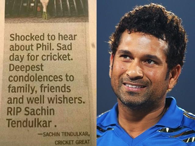 """Bharti Akhbar """"Times of India"""" Ny Phillip Hughes Ki Jaga Sachin Tendulkar Ko Hi Mar Dala"""